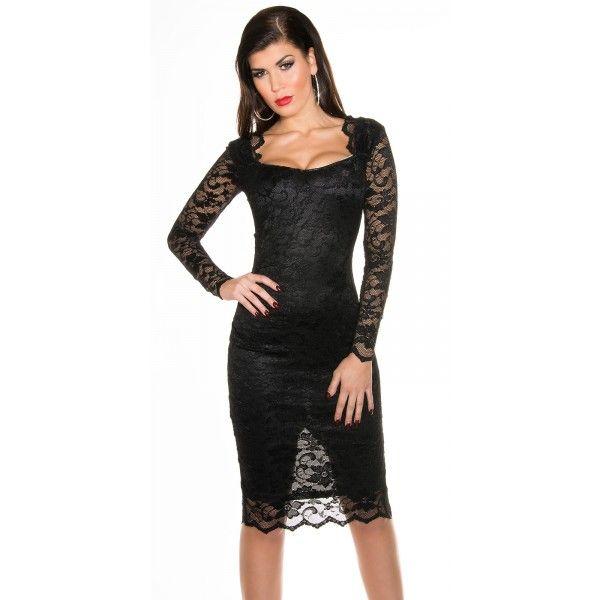 Čipkované šaty s dlhým rukávom Black