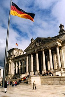 The beautifully-restored Reichstag in Berlin.  It's easy to reach Berlin by train..! London to Germany train info.