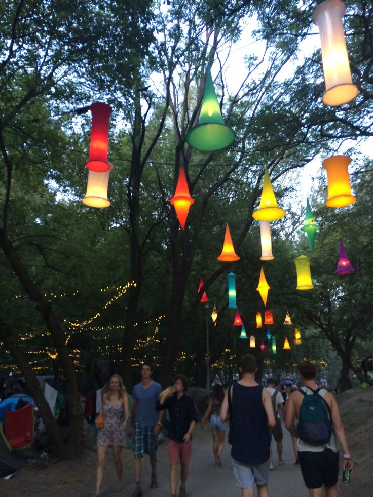 Unbelievable light decorations at Sziget Festival. Normally, the island is a park so the organizers need to improvise a bit.