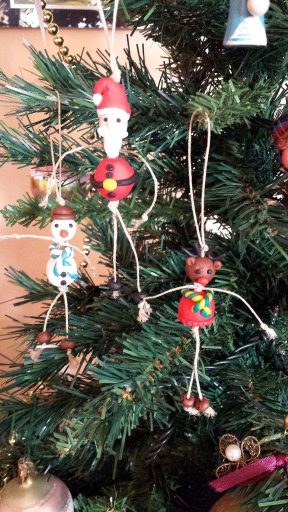 Idea regalo Natale 2015 Addobbi natalizi per albero di natale babbo natale renna pupazzo di neve , by Chiara - Creazioni in fimo, 7,00 € su misshobby.com