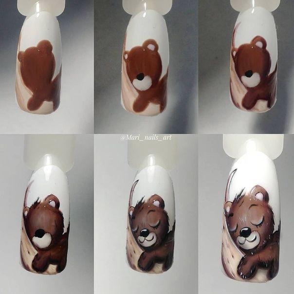 Дизайн ногтей мишки пошагово фото