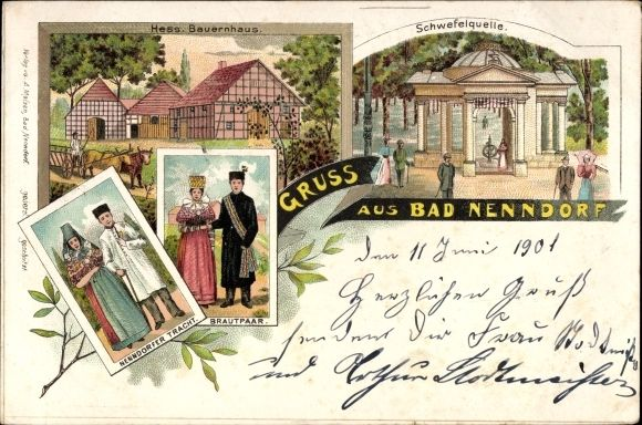 Litho Bad Nenndorf, hessisches Bauernhaus, Schwefelquelle, Tracht, Brautpaar  #oesterten