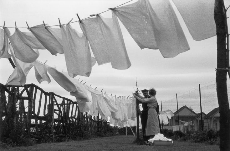 Washing lines with nappies blowing in the wind at Butlin's Holiday camp in Skegness. The camp provided a free nappy washing service, 1 July 1955.   Photo: Grace Robertson