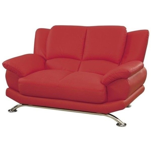 Global Furniture Leather Loveseat with Chrome Legs   590    liked on  Polyvore featuring home. Best 25  Red leather sofas ideas on Pinterest   Red leather