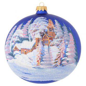 Tannenbaumkugel blauem Glas Decoupage Bild 150mm | Online Verfauf auf HOLYART