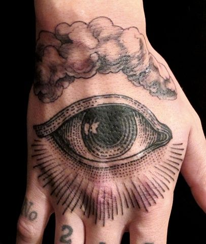 """All Seeing Eye"" tattoo by Butterfat Tattoo (Esther Garcia). Esther did my friend Shawn's sleeve and she is amazing."