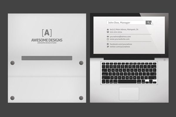 Laptop Folded Business Card Template - Business Cards - 3