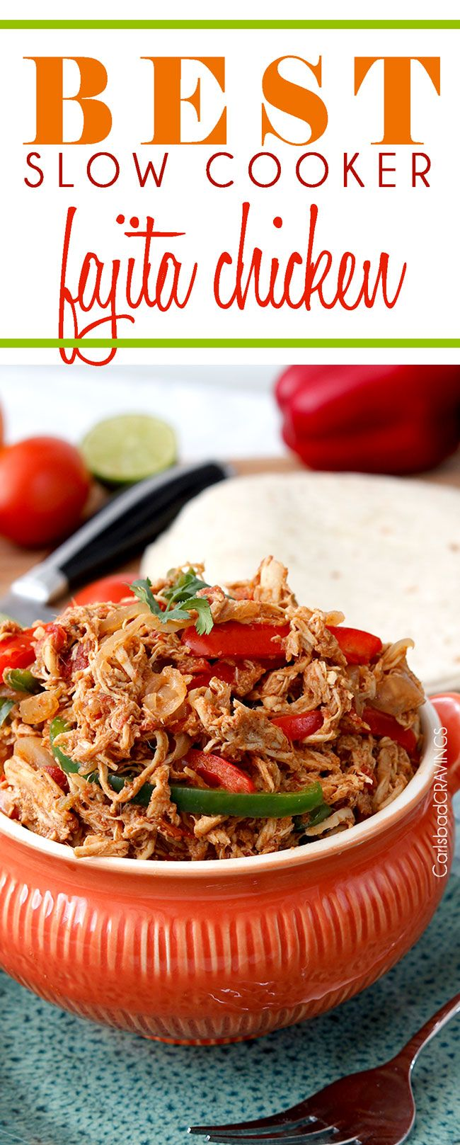 Slow Cooker Fajita Chicken - fall apart tender bursting with spices and SO EASY! the best fajita chicken you will ever eat! Perfect for fajitas, burritos, enchiladas, salads, bowls, etc. and as easy as add all the ingredients to the crockpot! #fajitas #fajitachicken #chickenfajitas #slowcookerfajitachicken