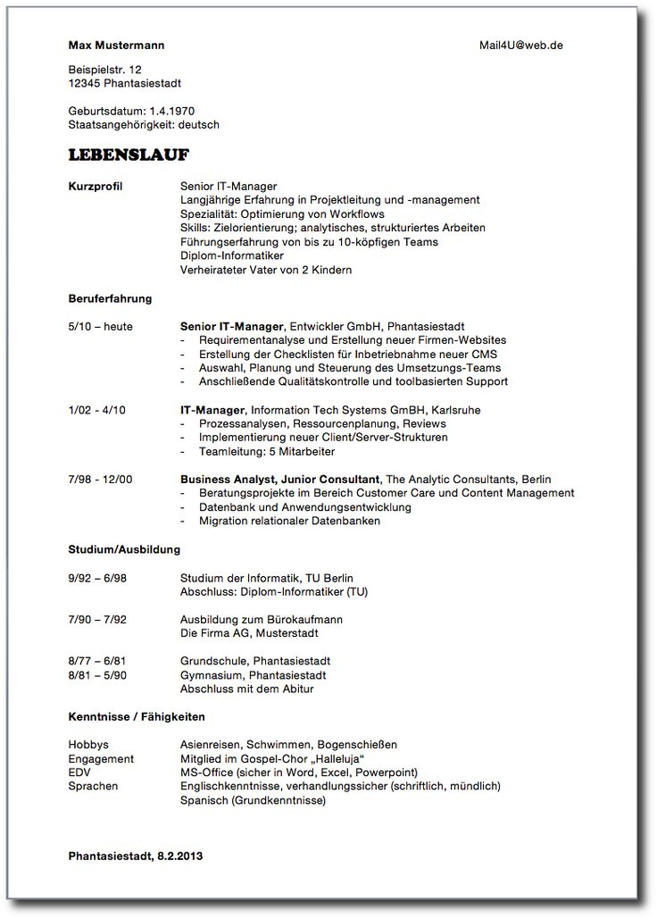 1000 ideas about lebenslauf bewerbung muster on pinterest