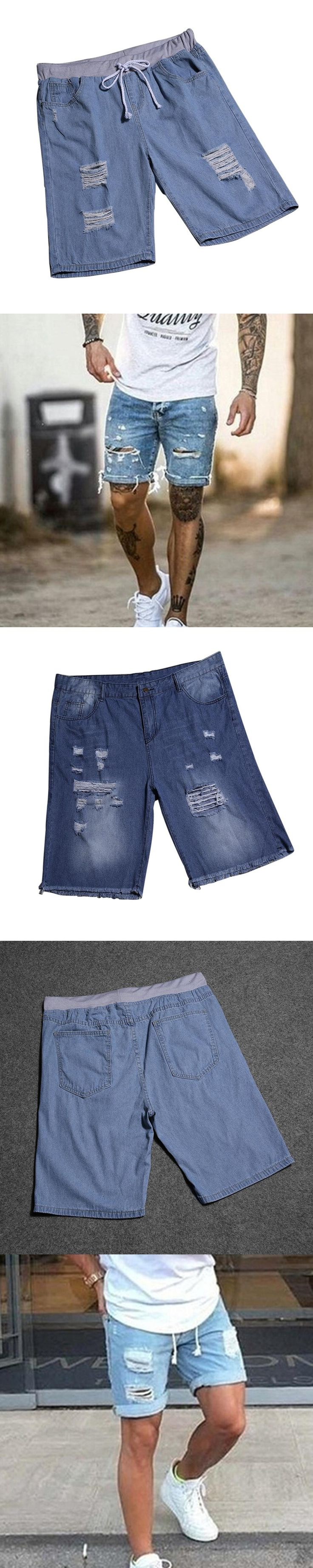Summer Men Short Jeans Fashion Drawstring Denim Pants Ripped Shorts Plus Size