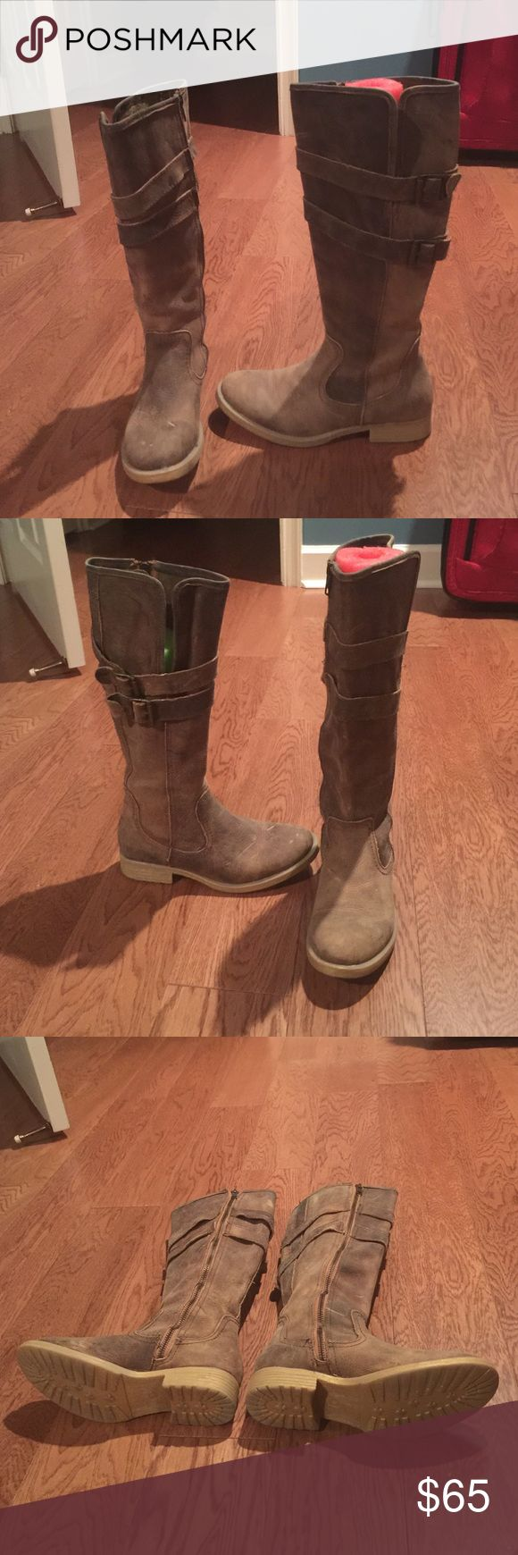 BedSTU Boots!! Tall, distressed style, BedSTU boots. Worn once and in great condition!! Very cute!!! Bed Stu Shoes Combat & Moto Boots