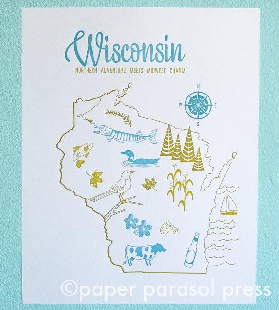 11x14 Letterpress Print Wisconsin Vintage Travel Inspired. $30.00, via Etsy.