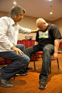 Steve Roehm hypnotizing Martin Petersen