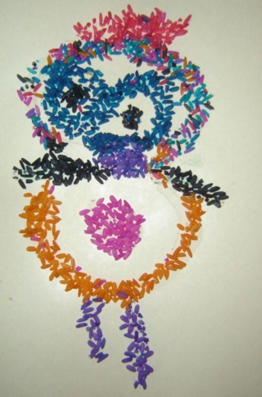 Rice drawing - lots of great kid craft ideas on this site!