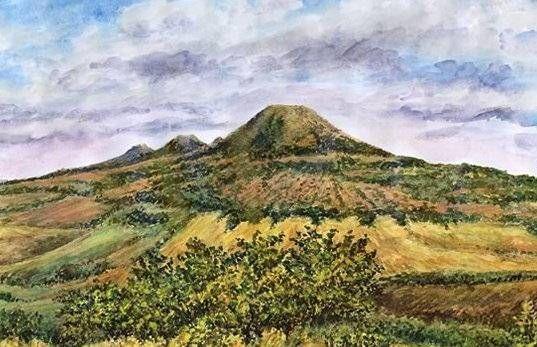 Oblík, Srdov and Brník, basalt hills in České středohoří, North Bohemia, watercolor by Jana Haasová