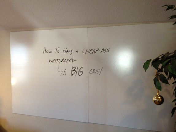 How To Get A Big Whiteboard On A Small Budget - Blog Marketing Academy -- planning to hang this in our hallway