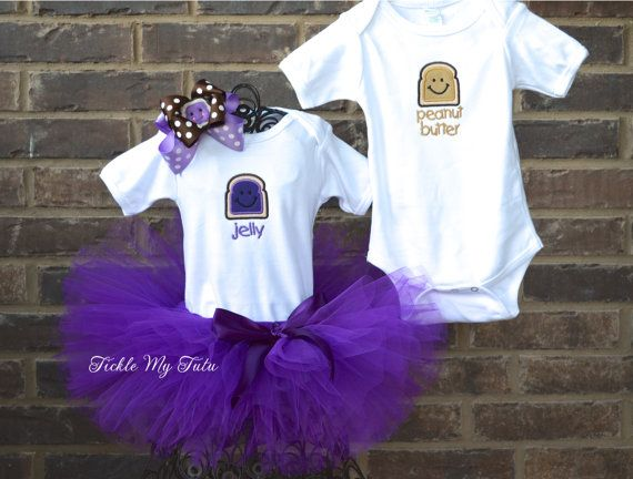 Peanut Butter and Jelly Boy/Girl TWIN ONESIE, TUTU, and Bow Set Twin Halloween Costume on Etsy, $84.95