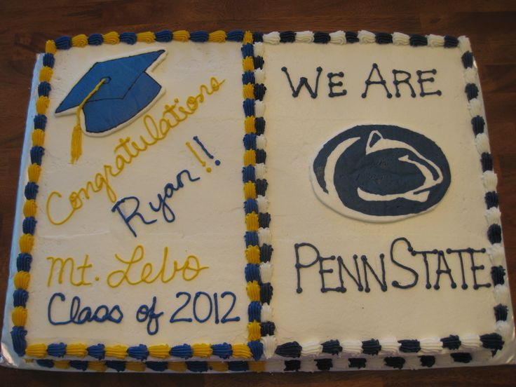 High School Grad Cake - Full sheet cake - 1/2 yellow, 1/2 chocolate with vanilla buttercream.  Penn State logo and grad cap are FBCT.