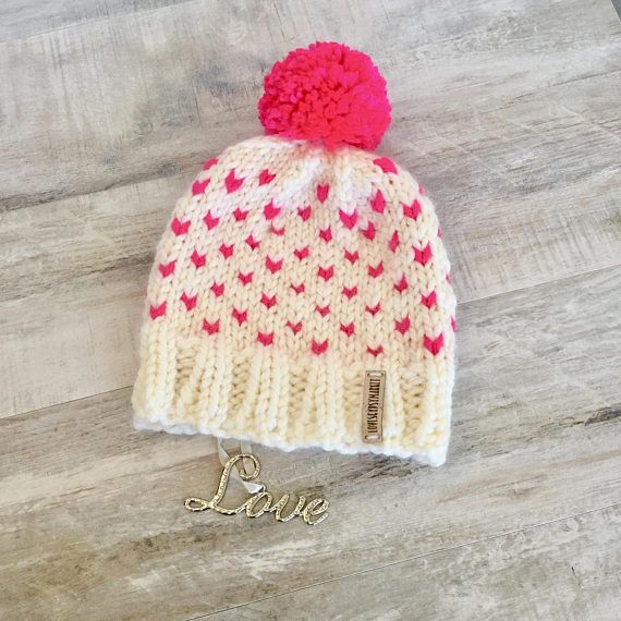 Valentine Hatpink tiny heart hatchunky cream and neon pink