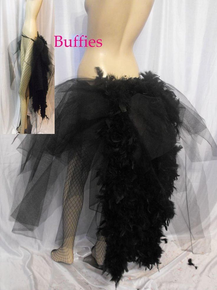 Big Black Swan Burlesque Slashed Layer Feathers Bustle Belt Train Tail 8 30