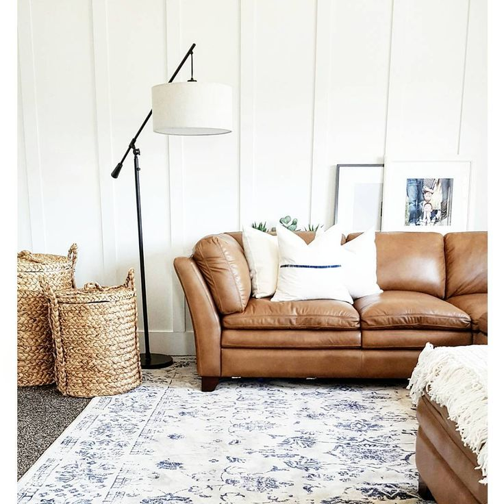 Leather Sofa   Lightened Up With Rug, Pillows, Baskets And Paint