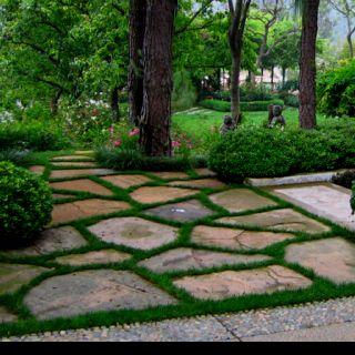 Large Flag Stones And Moss Flagstone Patio Backyard