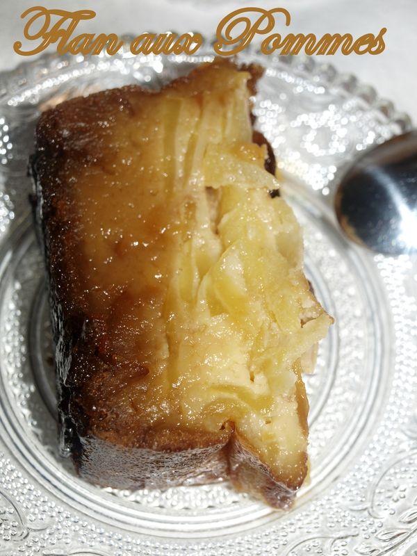 Voici un flan aux pommes que j'ai trouvé chez Maiwenn , il est fait de 3 couches bien gourmandes, avec une au caramel , de pommes fondantes...