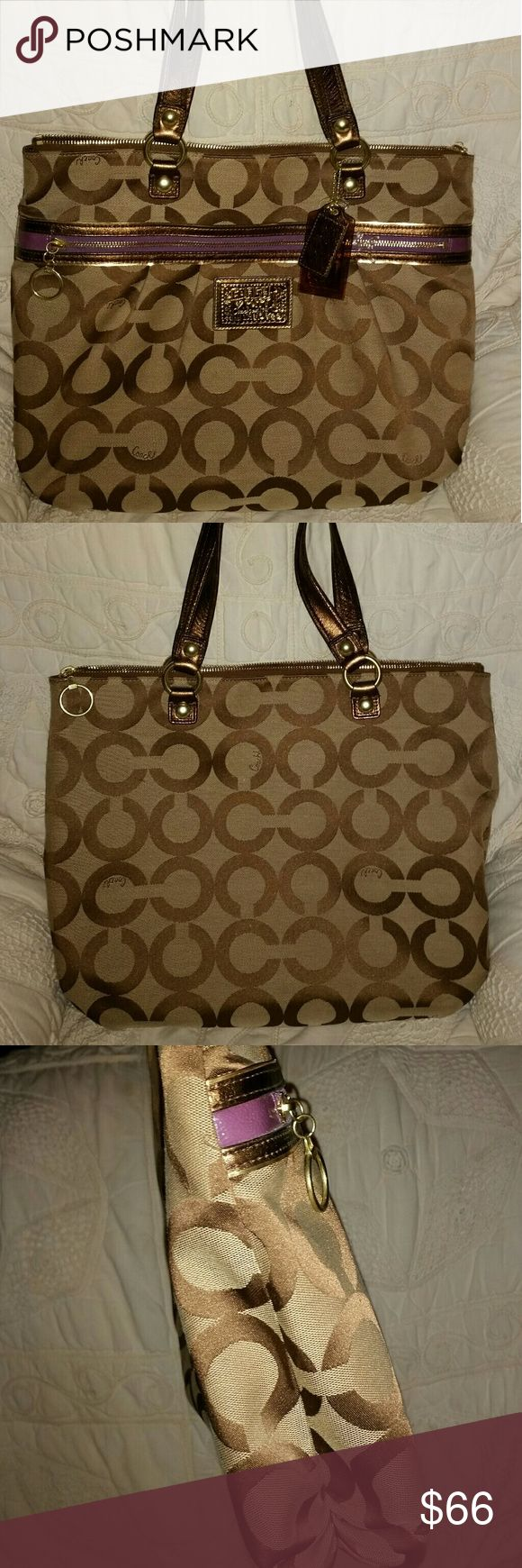 NWOT AUTHENTIC COACH POPPY LARGE DIPPERED TOTE This is brand new no tags excellent conditon smoke free home its a beige champagne in color 17 wide by 15 tall no trades price is firm on this its brand new all 3 hand tags r in it as well. Coach Bags Totes