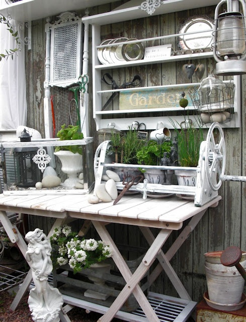 A gallon of white chalk paint, and some old junk or treasure repurposed!