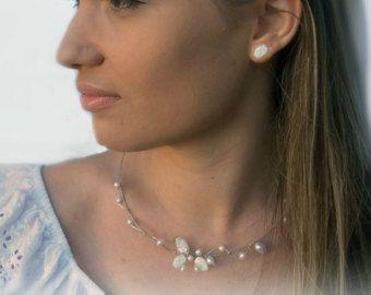 Floating necklace bridal Illusion Necklace wedding by anamarina