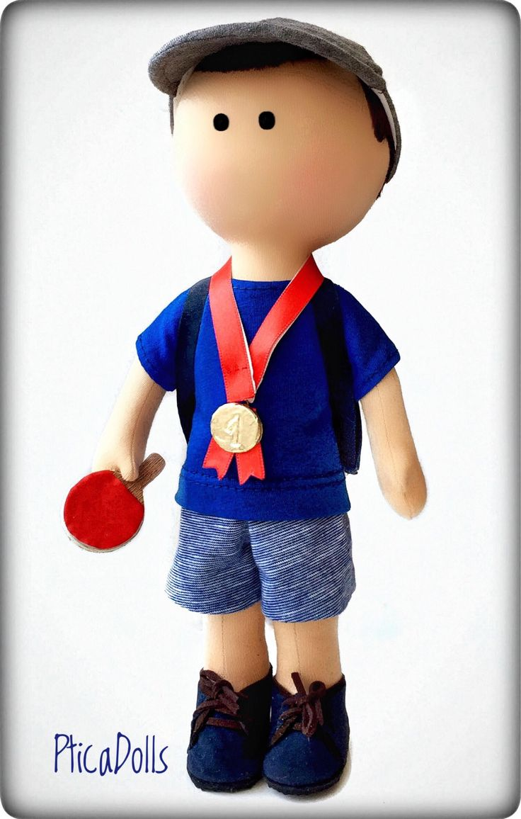 Portrait boy doll Cobalt blue Table tennis champion Selfie mini me doll Fabric doll with ping-pong racket Tilda custom toy Gift for husband