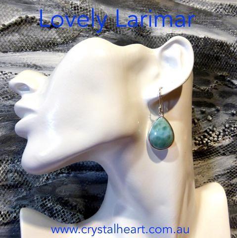 Larimar Teardrop Earrings   925 Sterling Silver   Dominican Republic Caribbean   Leo Stone   Pectolite   Crystal Heart Melbourne Australia since 1986