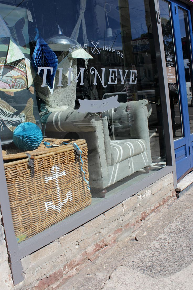 Stylist Tim Neve's Shopfront in Islington, NSW themed for the launch of his book 'Sandcastles - Interiors inspired by the Coast'