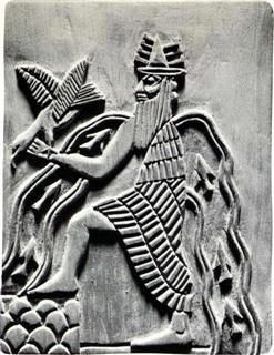 Enki.  The main temple to Enki is called E-abzu (abzu temple) or E-en-gur-a (house of the subterranean waters), a ziggurat temple surrounded by Euphratean marshlands near Eridu. He was the keeper of the divine powers called Me, the gifts of civilization. His image is a double-helix snake, or the Caduceus, very similar to the Rod of Asclepius used to symbolize medicine. He is often shown with the horned crown of divinity dressed in the skin of a carp.  #Sumerian