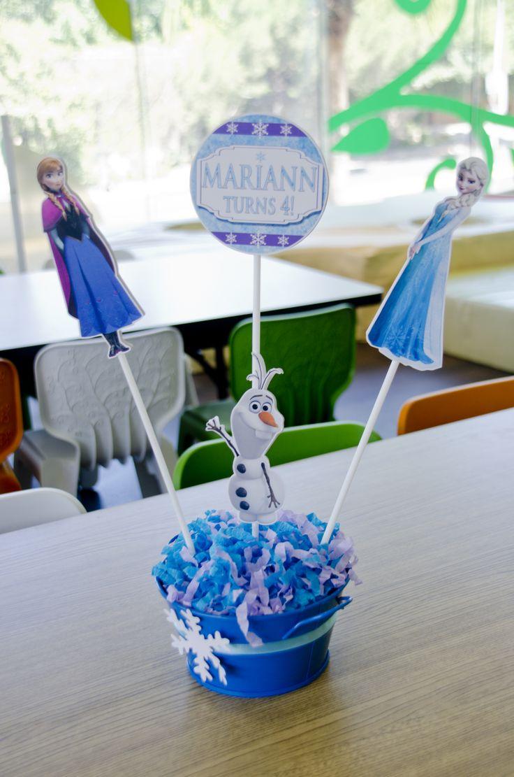 Frozen themed party centrepiece Centros de mesa de Frozen