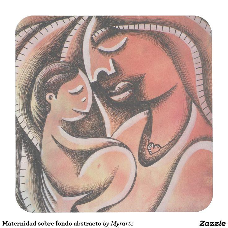 Maternidad sobre fondo abstracto square paper coaster Mother, mom, maternity, madre. Producto disponible en tienda Zazzle. Decoración para el hogar. Product available in Zazzle store. Home decoration. Regalos, Gifts. #posavaso #coaster #madre #mother #mom #maternity