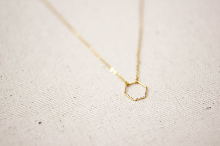 Hexagon Necklace / Dainty Gold Hexagon Necklace / Geometric Necklace / Layered Necklace / Bridesmaid/Birthday Idea by SimpleDaintyJewelry on Etsy https://www.etsy.com/listing/254194030/hexagon-necklace-dainty-gold-hexagon