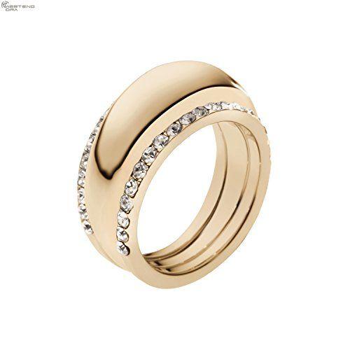 Michael Kors Mkj2327 Women S Brilliance Crystal Pave Golden Steel Ring Size 9 Michaelkors