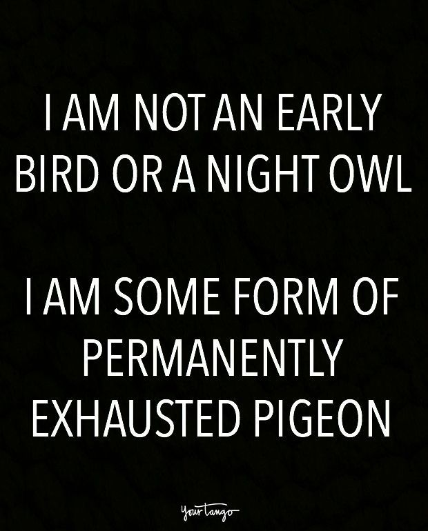 """I am not an early bird or a night owl. I am some form of permanently exhauste..."