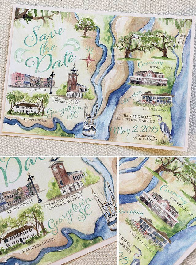 Beautiful Custom Map Hand Painted  Save the Date - Momental Designs!!!  #watercolorsavethedates