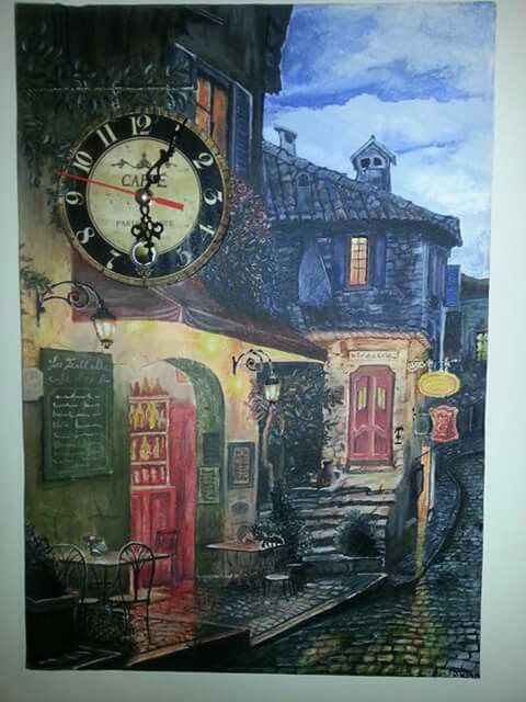 35*50 tuval akrilik boya Buda gordugum resimden esinĺenerek yaptığım ve saat ekledigim bir tablom saat çalışır durumda