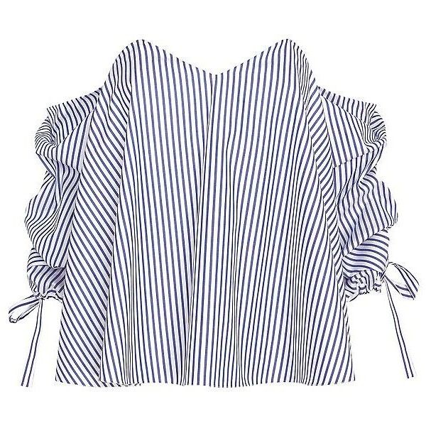 Caroline Constas Striped Poplin Off The Shoulder Blouse ($395) ❤ liked on Polyvore featuring tops, blouses, poplin blouse, stripe blouse, zipper blouse, striped top and white sweetheart top