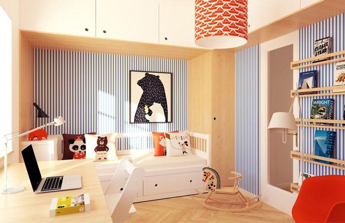 V rámci kompletní rekonstrukce řadového rodinného domu na pražském Spořilově dostal architektonický ateliér TASTRUKTURA úlohu, jak udělat ze dvou pokojů tři - pro šestiletá dvojčata a jejich tříletého bratra.