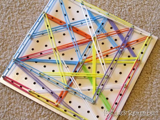 Make your own geo board. This one is too large for a busy bag, but a smaller one would work just fine for learning shapes and making patterns.