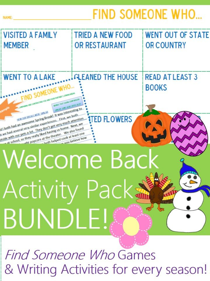 "After vacations, holidays, and breaks, welcome students back by letting them productively discuss their time away using these ""Find Someone Who"" games, Venn diagrams, and writing activities--tailored to each holiday or break! This BUNDLE includes my 7 activities for Halloween, Thanksgiving, Winter Break, Spring Break, Easter, Summer Break, and any Weekend. #Teachering"