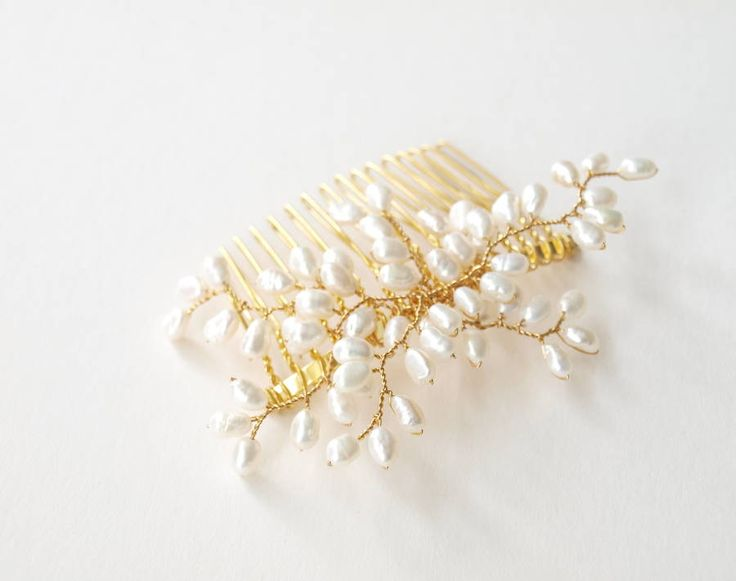 bud pearl bridal hair comb by jewellery made by me | notonthehighstreet.com
