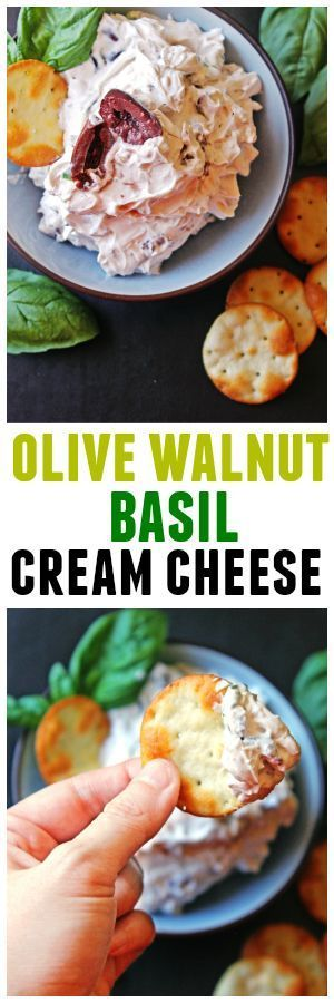 Olive walnut basil cream cheese will be your new favorite dip or spread! Olive brine and olives are whipped into cream cheese, followed by walnuts and fresh basil. YUM!