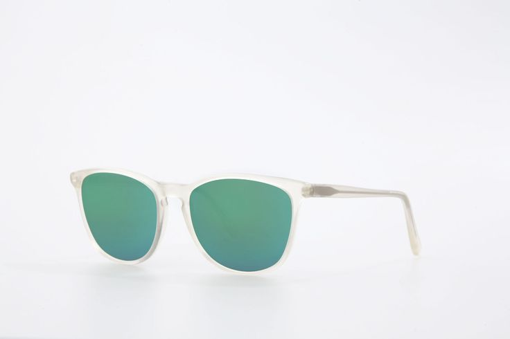Nairobi in crystal matt yellow acetate with polarized green mirrored lenses