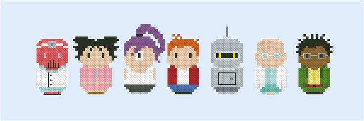 From the popular cartoon Futurama, a cross stitch pattern featuring Dr. Zoidberg, Amy, Leela, Fry, Bender, the Professor and Hermes <br><br> This is a digital PDF file of a cross stitch pattern. You will need to have a PDF reader (like Adobe Reader) to