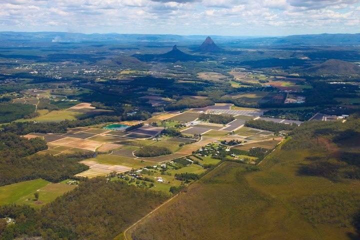 Glasshouse Mountains and farmlands - Sunshine Coast, Australia